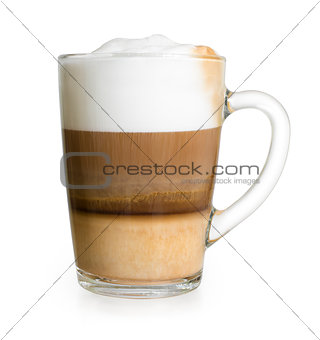 Cappuccino in glass cup isolated with clipping path included