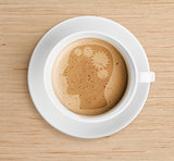 coffee cup with brain refreshing concept on foam
