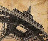 Eiffel tower over old adventure map