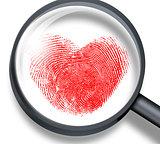 red fingerprint in heart shape through magnifying glass