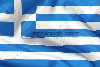 Greece flag on satin or silk