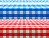 table surface perspective view covered by red and blue checkered