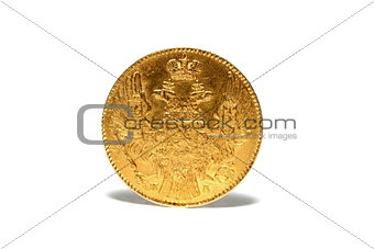 old gold coin isolated on a white background