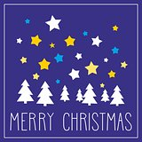 Holidays vector card with hand drawn Merry Christmas wishes