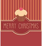 Holidays vector card with cake and hand drawn Merry Christmas wishes