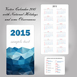 usa blue calendar card 2015