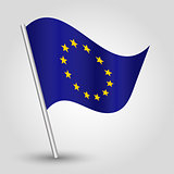 vector 3d waving eu flag on pole