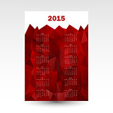red wall calendar card 2015