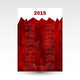 red wall calendar card 2015
