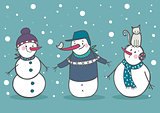 Set of 3 cute snowman, part 2