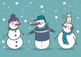 Set of 3 cute snowman, part 2