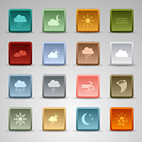 Colored set square web buttons weather