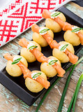 Potato gnocchi with salmon