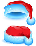 Set red Christmas hat with blue trim
