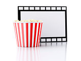 Box of popcorn and film reel. 3d illustration