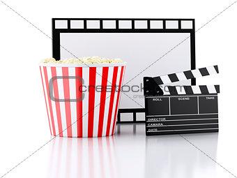 cinema clapper, popcorn and film reel. 3d illustration