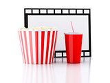 popcorn, drink and film reel. 3d illustration