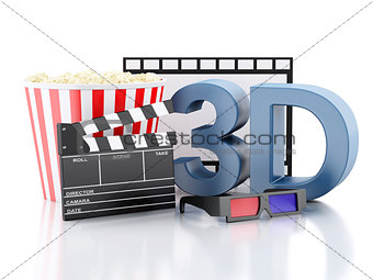 cinema clapper, popcorn, film reel and 3d glasses. 3d illustrati
