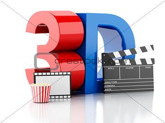 cinema clapper, popcorn, drink and film reel. 3d illustration