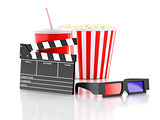 cinema clapper, popcorn, drink and 3d glasses. 3d illustration