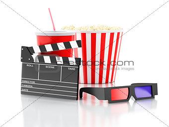 cinema clapper, popcorn, drink and 3d glasses. 3d illustration