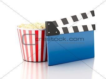 3d cinema clapper and popcorn