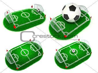 Football Concepts - Set of 3D Illustrations.