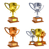 Contest Concepts - Colorful Trophy Cups of 3D Illustrations.
