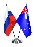 Russia and Australia - Miniature Flags.