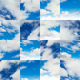 Collage of Fragments on Blue Sky.