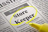 Store Keeper Vacancy in Newspaper.
