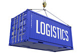 Logistics - Blue Hanging Cargo Container.
