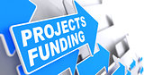 Projects Funding on Blue Direction Arrow Sign.