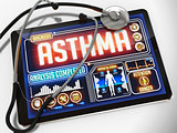 Asthma on the Display of Medical Tablet.