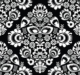Polish folk art white seamless pattern on black - wzory lowickie, wycinanki
