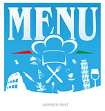 italian menu blue background
