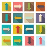 Flat icons of arrows. Vector illustration