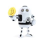 Robot holding Bitcoin. Isolated. Contains clipping path