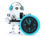 Robot call center operator. Isolated. Contains clipping path