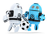 Robots playing soccer. Isolated. Contains clipping path