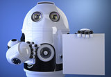 Robot holding a blank board for text or advertising. Isolated. C
