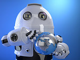 Robot holding blue shining earth globe. Technology concept. Isol
