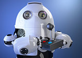 Robot with joystick. Contains clipping path