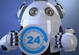 Customer support phone operator robot in headset. Contains clipp