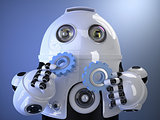 Robot holding gears in hands. Technology concept. Contains clipp