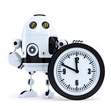 Robot with clock. Technology concept. Isolated. Contains clipping path