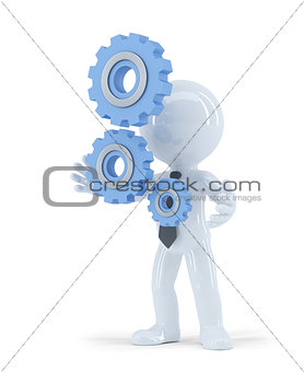 3d businessman holding metal gears. Business concept. Isolated. Contains clipping path