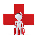 3d doctor in front of giant red cross. Isolated. Contains clipping path