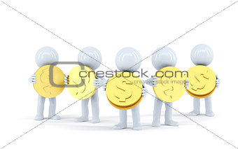 Group of 3d people with gold shiny coins. Isolated. Contains clipping path
