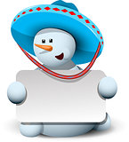 snowman in a sombrero with white background